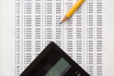 Rows of numbers, calculator and pencil