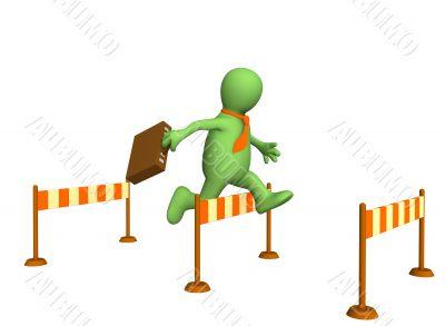 3d businessman, jumping through a barrier