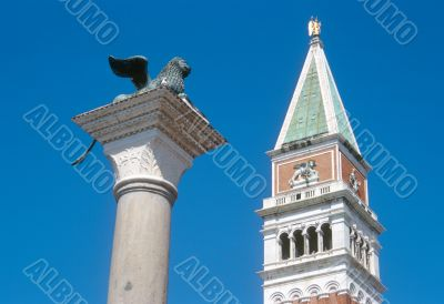 Saint Mark`s bell tower and Saint Mark`s Lion
