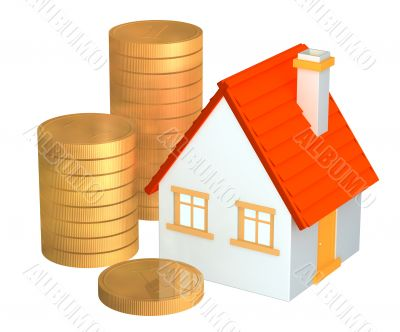 Conceptual 3d house and columns of gold coins