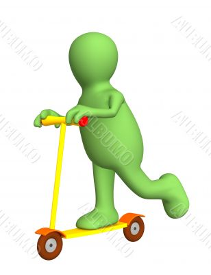3d person - puppet on a bright skateboard