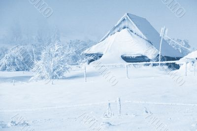 Winter lanscapes with snowy haus