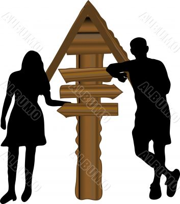 Man and woman by the signpost