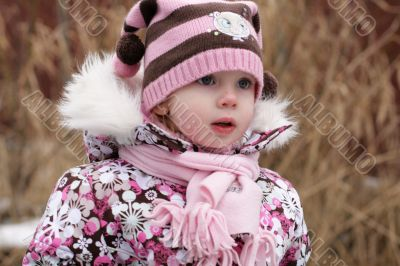 little beauty girl slightly frozen