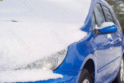 Snow on car.