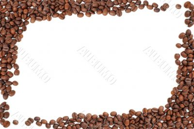frame of red brown coffee beans on white
