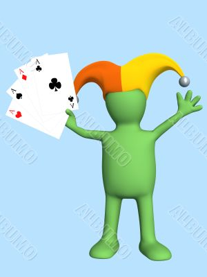 3d joker - puppet, holding in a hand four aces