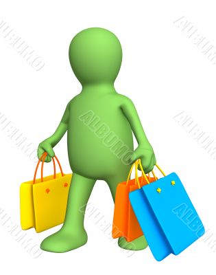 3d puppet, carrying packages with purchases