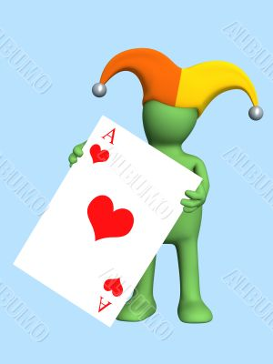 3d joker - puppet, holding in a hand of a red ace