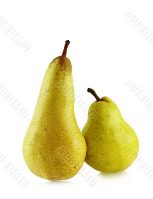 two ripe spotted pears