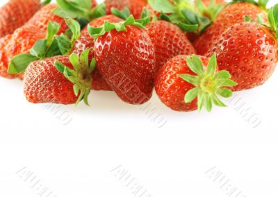 fresh bright juicy strawberry over white