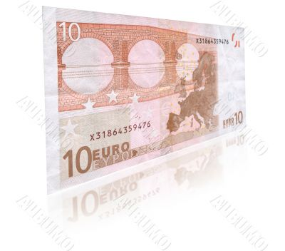 10 Euro banknote with reflection