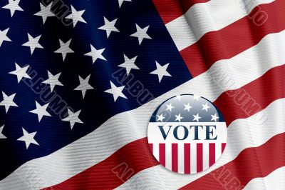 `Vote` Button on American Flag