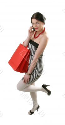 shopper talking  by cellphone