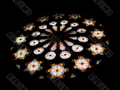 Stained Glass Rose Window in Temple