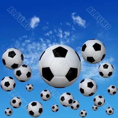 Soccer footballs set in High Cloud Sky