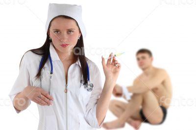 nurse with syringe & patient