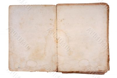 Old book open on both blank pages.