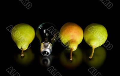 Three pears and a light bulb