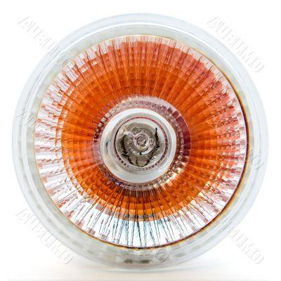 Orange halogen light bulb