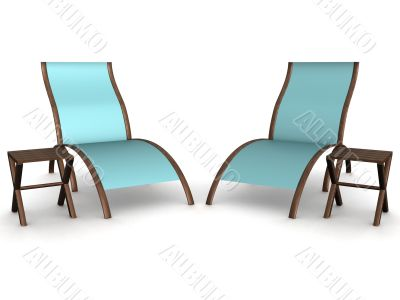 Two deckchairs on a white background. 3D image.