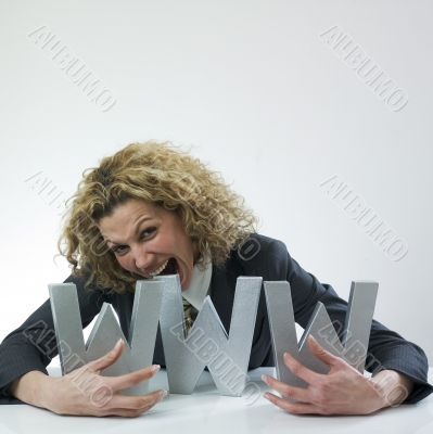 Woman biting letters