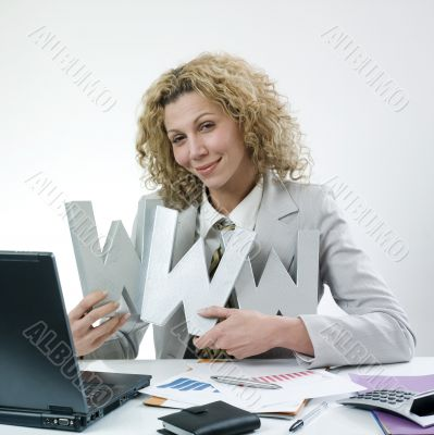 Happy woman with www