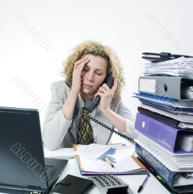 Fatigued businesswoman
