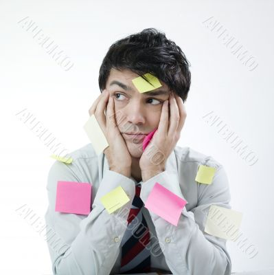 Discouraged man with stickers