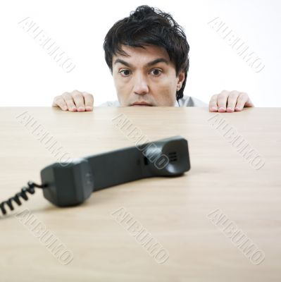 Man and handset