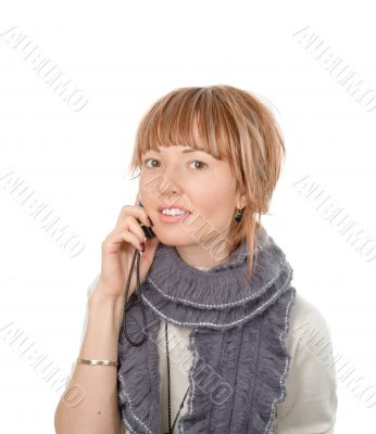 Attractive young woman call by cellular phone