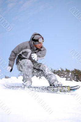 snowboarder alighting