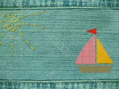 Yacht from multi-coloured cloth on a jeans fabric