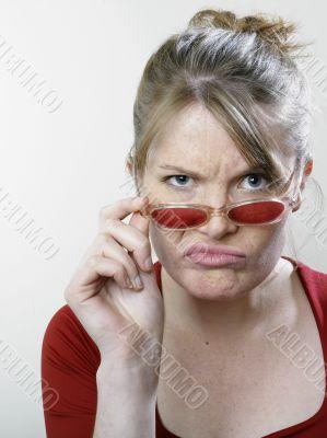 Woman with criticizing express