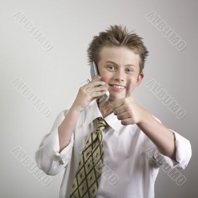 Boy giving thumb up