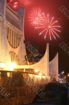 Celebratory fireworks behind drama theatre