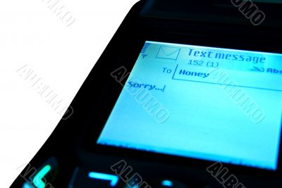 SMS with apologies on the screen isolated on white