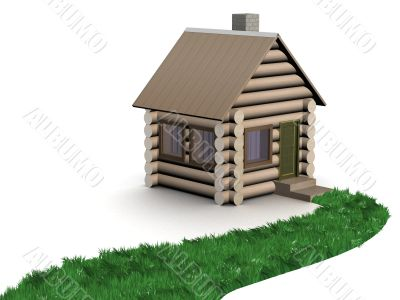 Grassy path to a wooden small house. 3D image.