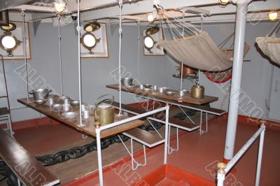 The interior of the old Russian military cruiser