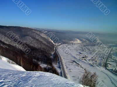 winter, mountains, forest and village