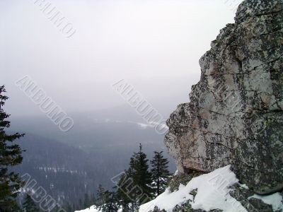 winter in mountains, rocks, woods