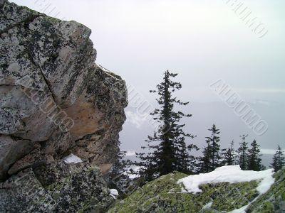 winter in mountains, rocks, woods