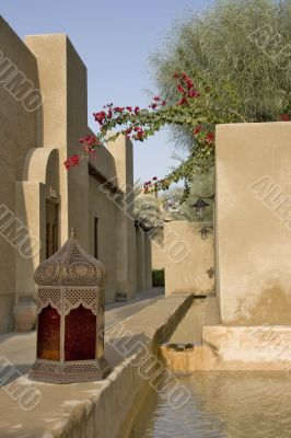 Arabian Village Lane with old arabic lamp
