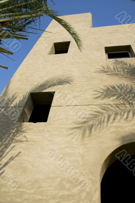 Arabic house wall in sunlight