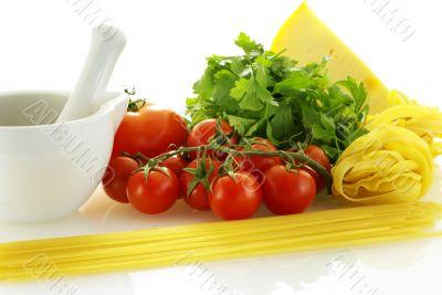 few raw ingredients for making pasta