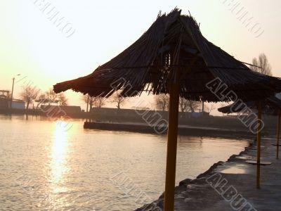 Beach umbrella. Morning.