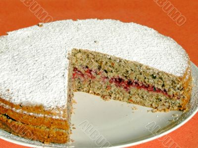 Buckwheat cake with cranberry marmalade