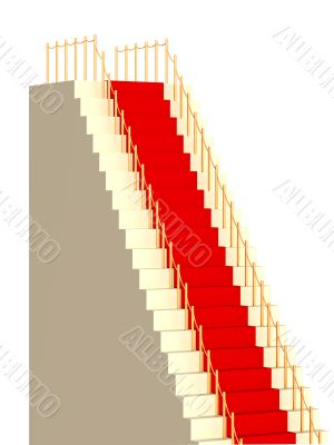 3d high ladder, covered with a red carpet