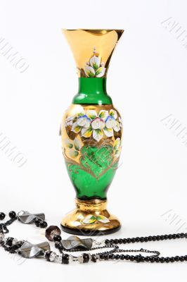 Crystal green vase and black beads