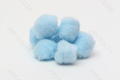 Blue hygienic cotton balls